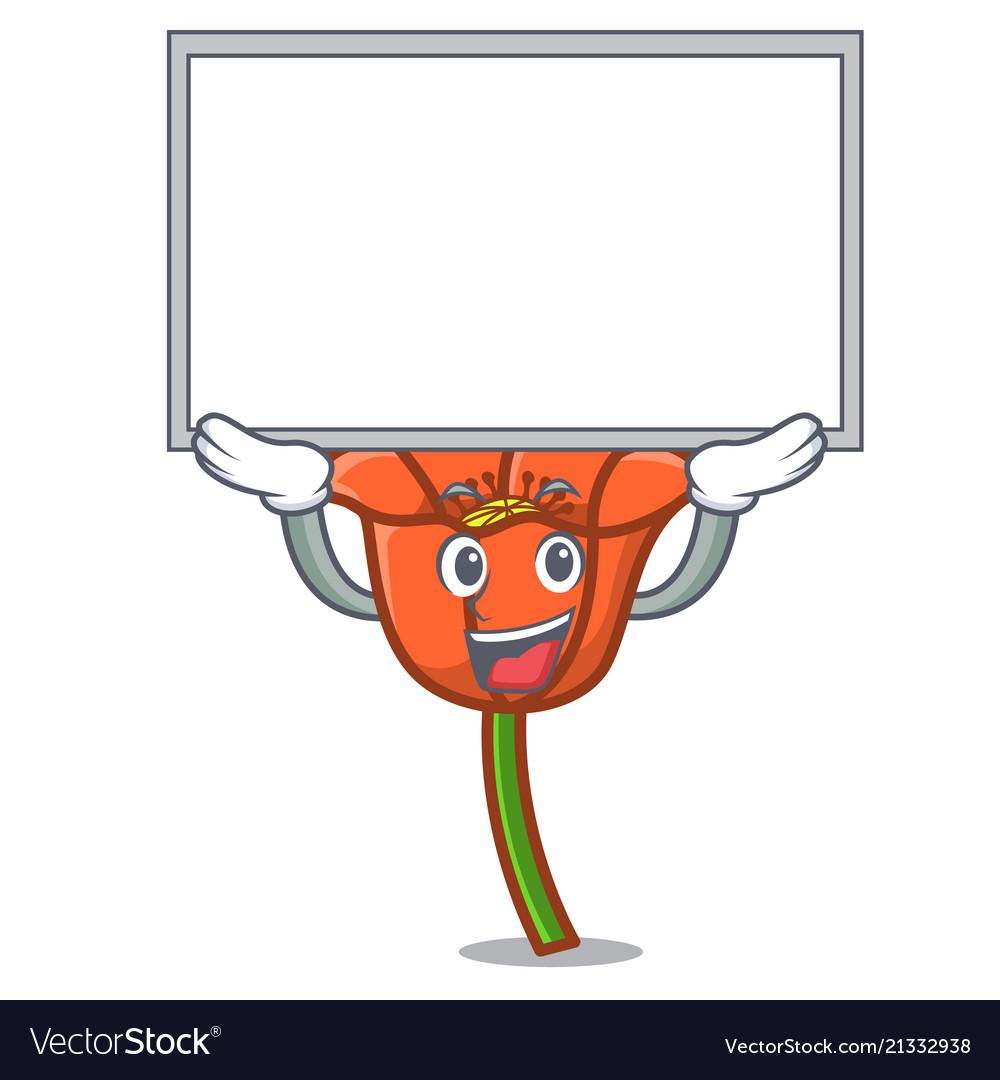 Up Board Poppy Flower Character Cartoon Royalty Free Vector