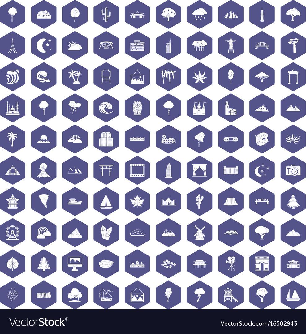100 view icons hexagon purple vector image