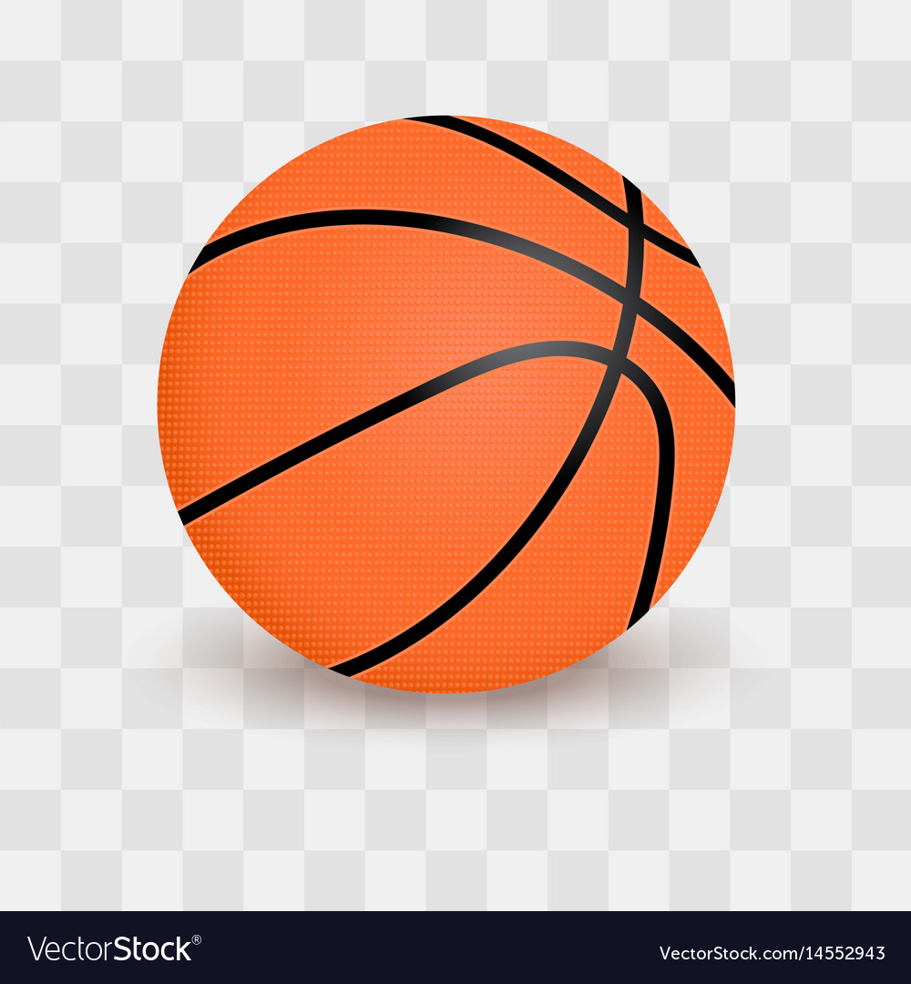 Basketball ball isolated on transparent checkered