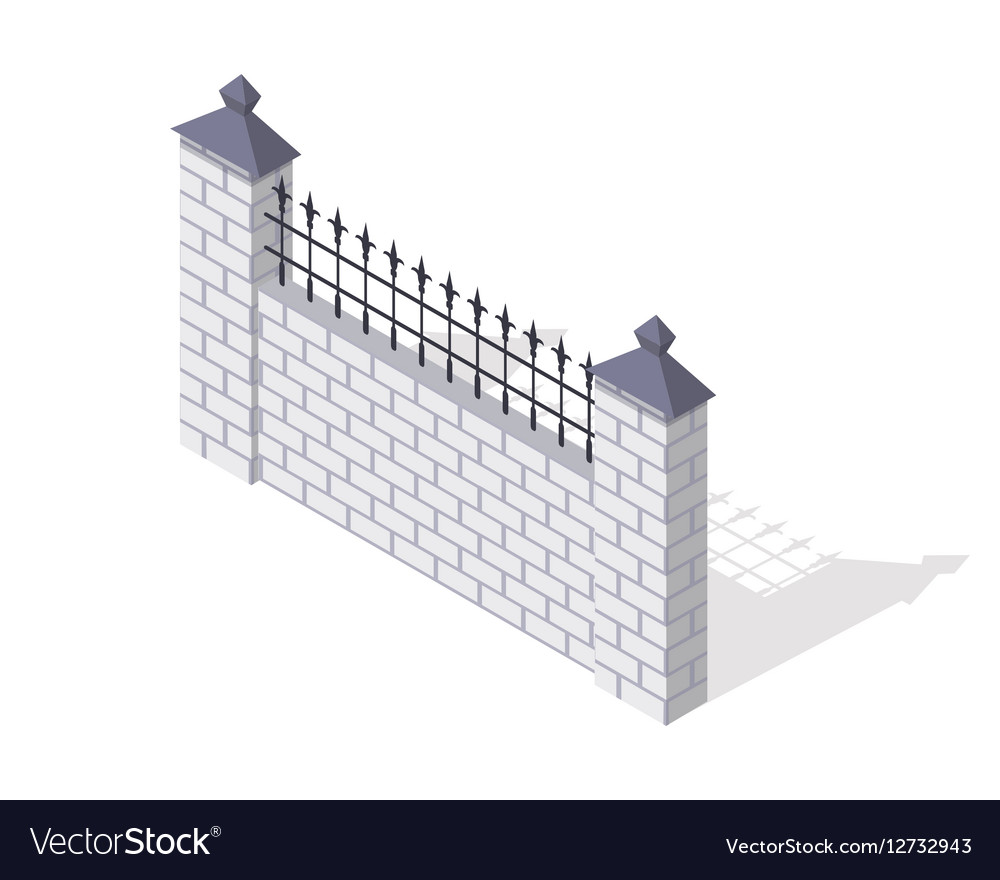 Brick Fence Section In Isometric Projection