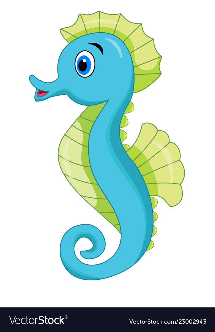 Cute Seahorse Cartoon Royalty Free Vector Image