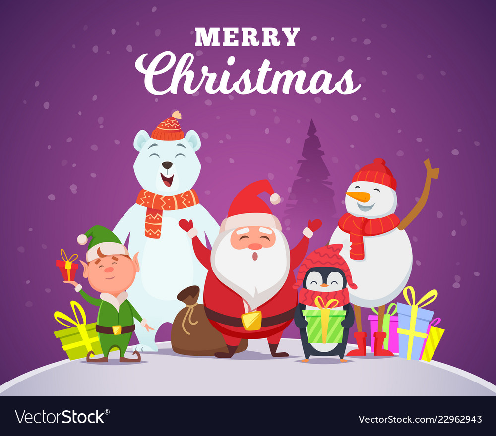 Holiday winter background christmas characters