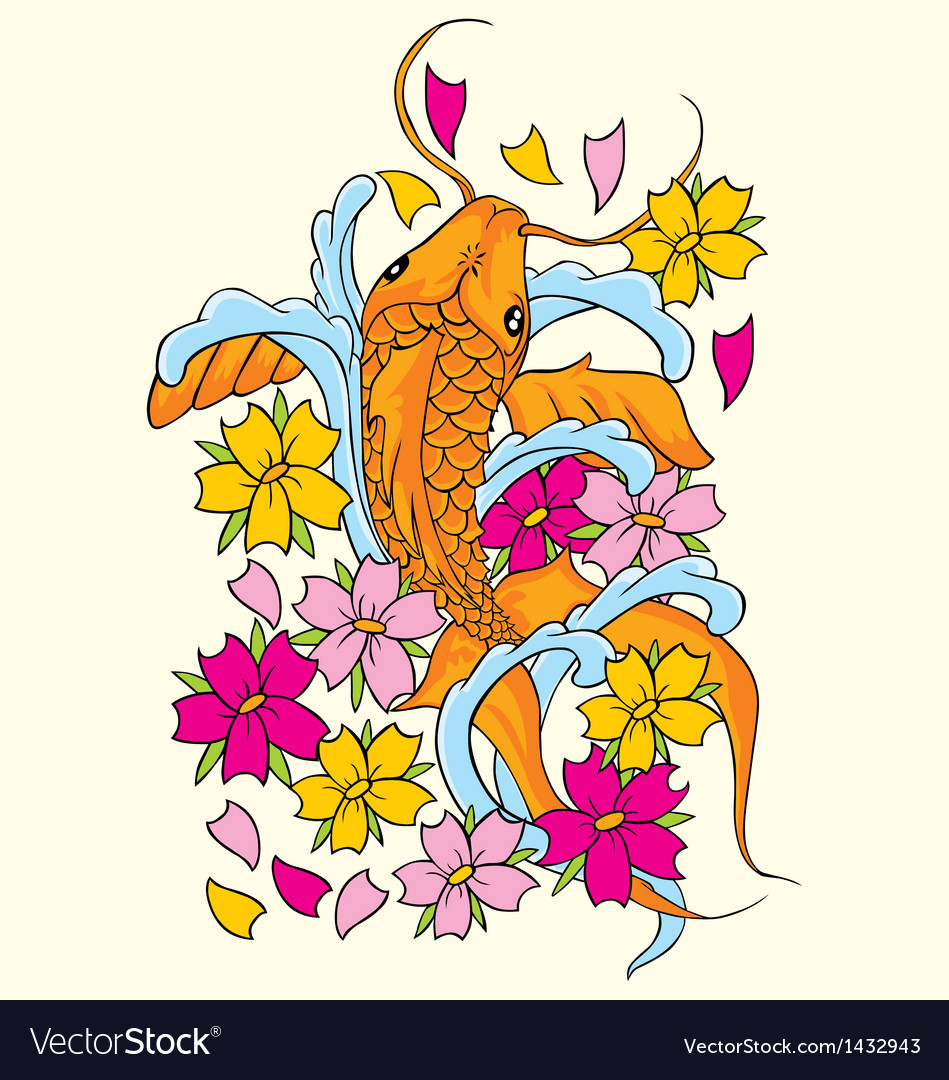 Koi fishes yin yang vector image