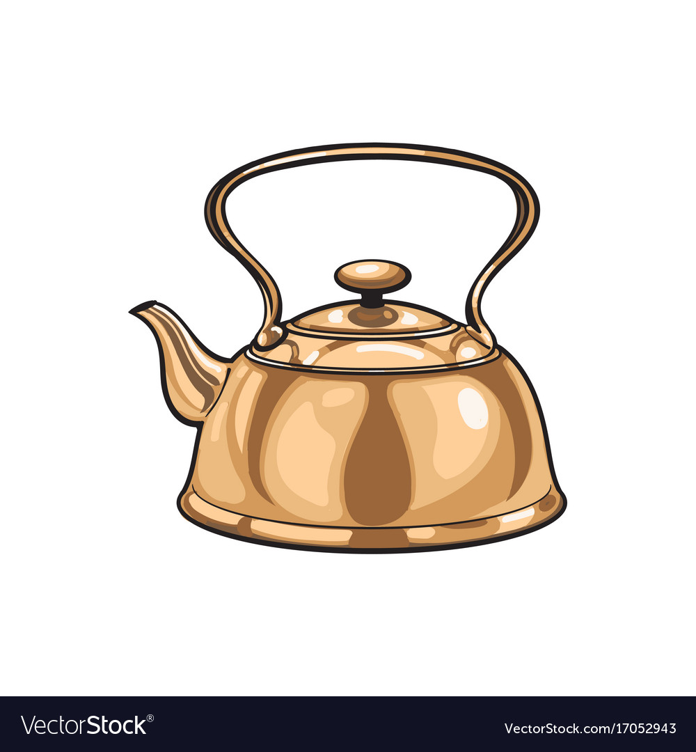 Metal bronze kettle teapot sketch isolated