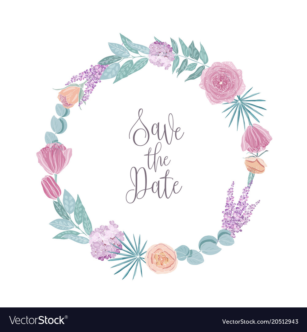 save the date card template decorated with round vector image