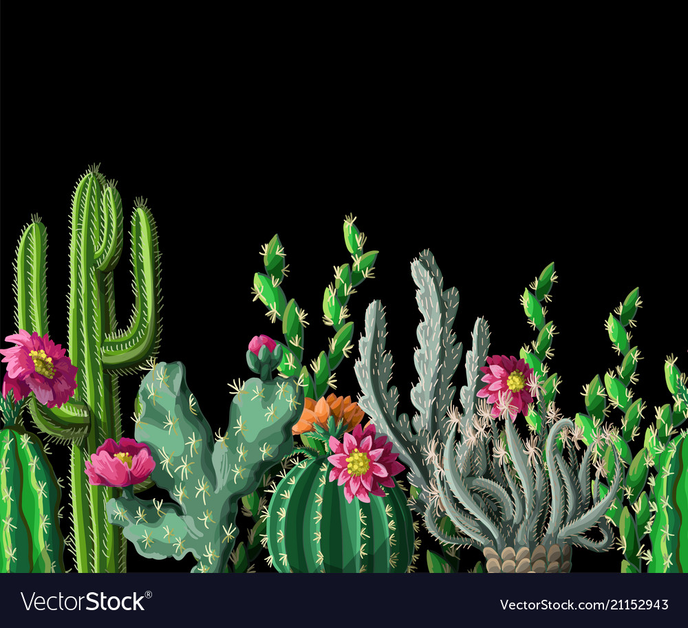 Seamless border with cactus and flowers