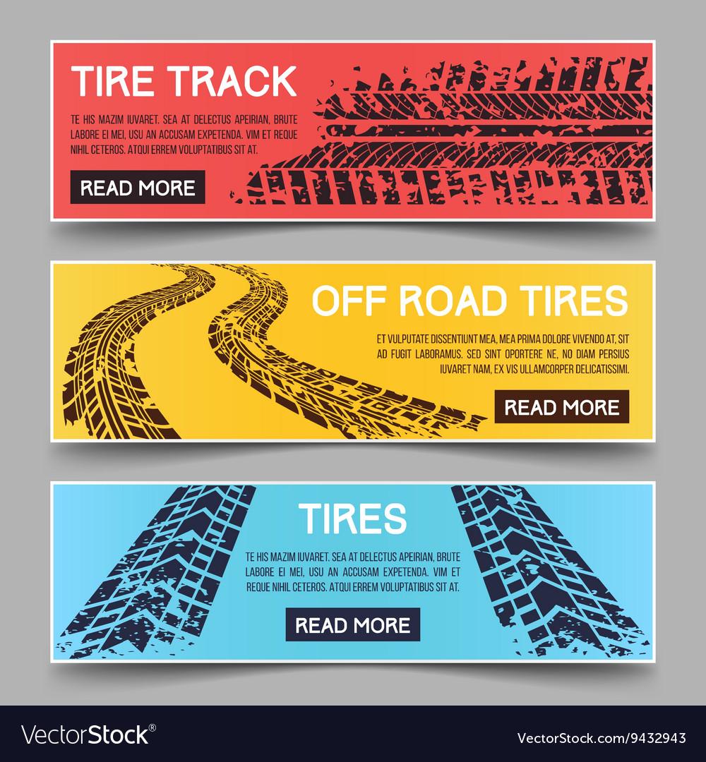 Tire tracks banners set