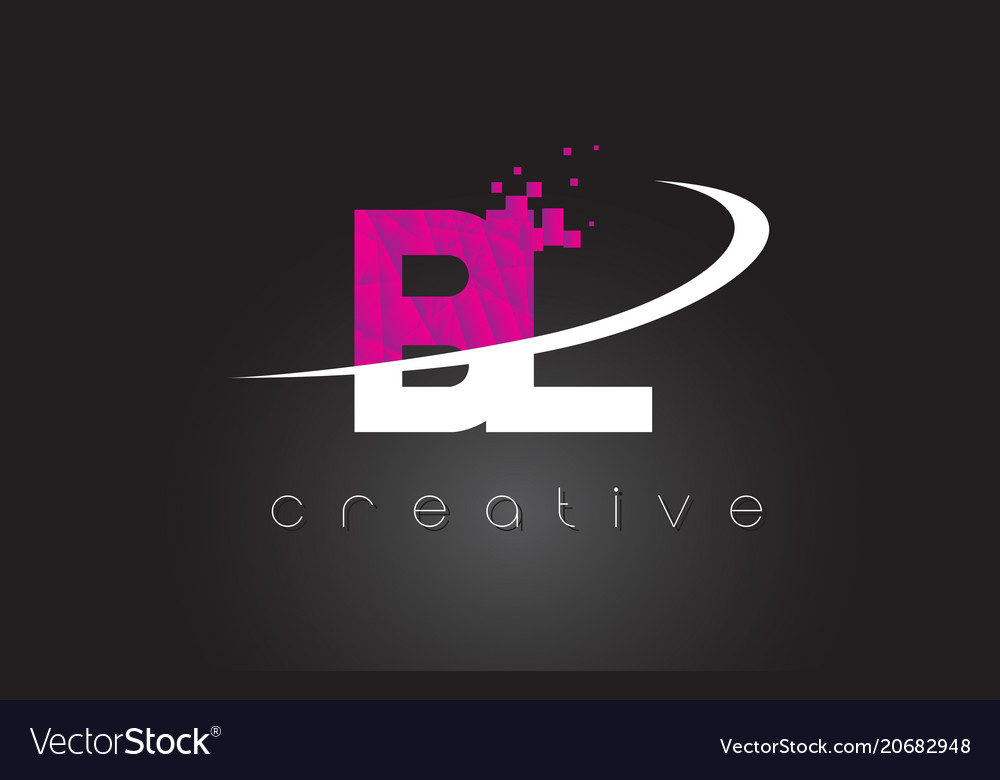 Bl B L Creative Letters Design With White Pink Vector Image