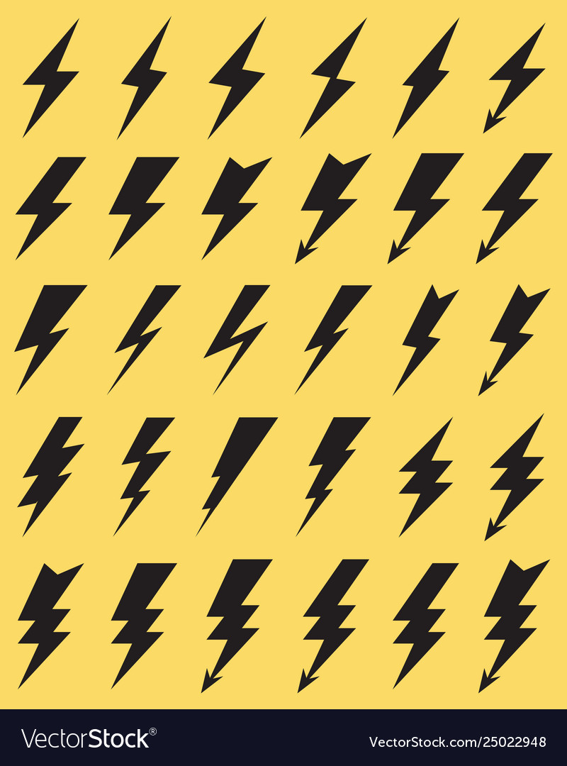 Black icons thunder lighting