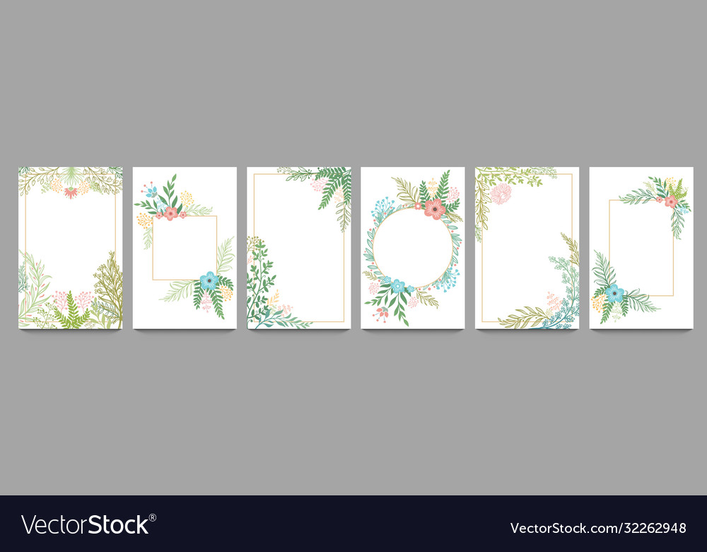Floral ornament card frame plant branches border