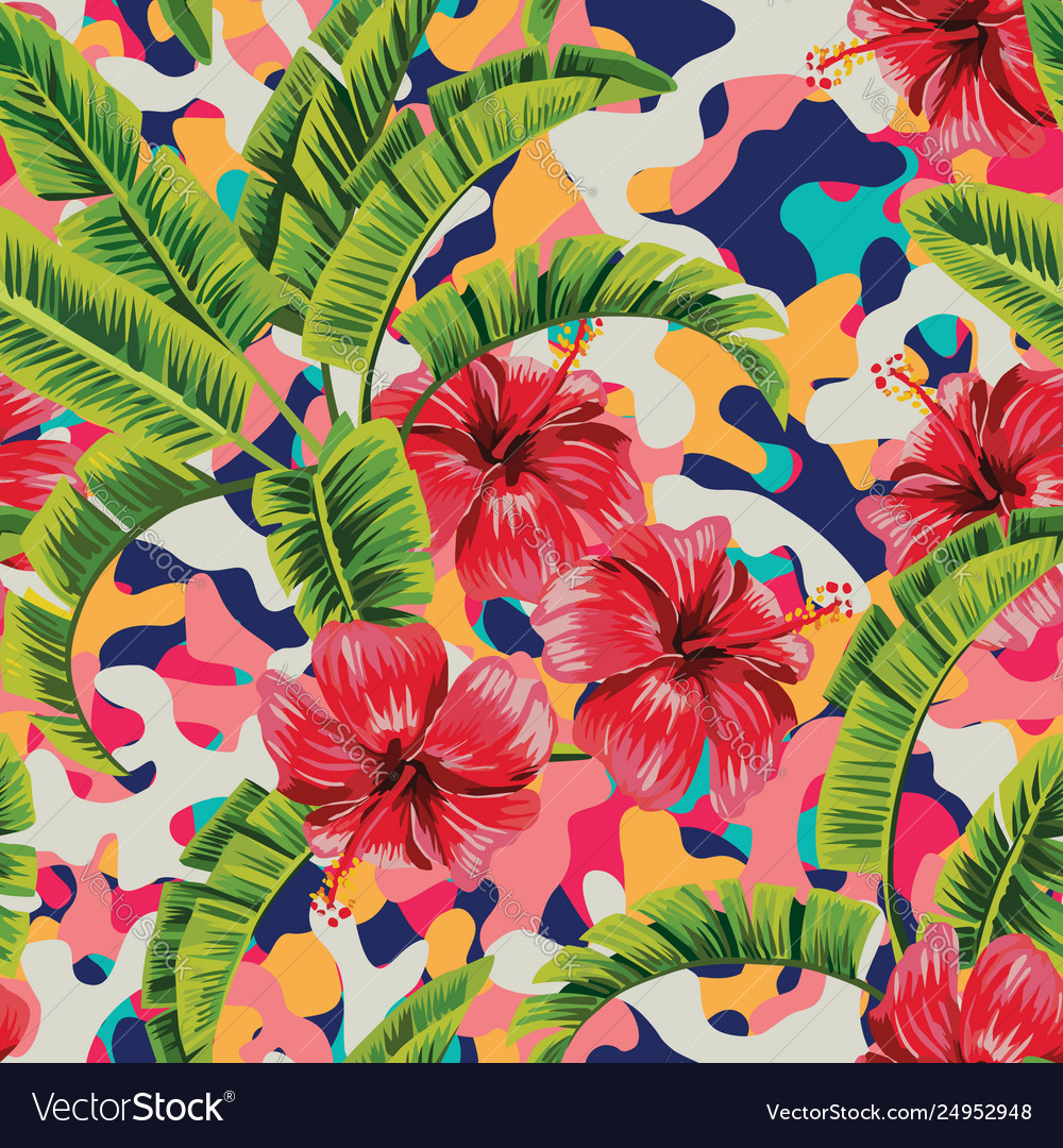 Hibiscus banana leaves multicolor background
