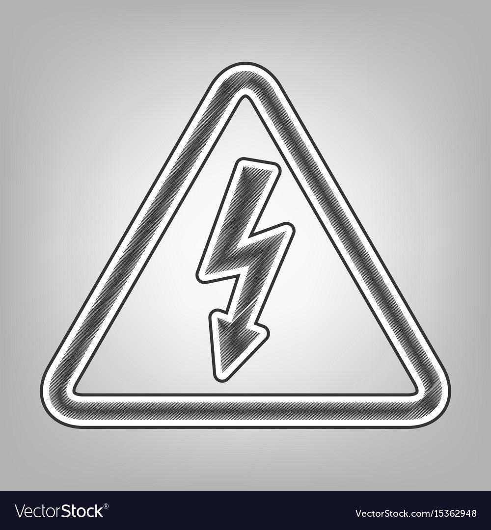 High voltage danger sign pencil sketch Royalty Free Vector