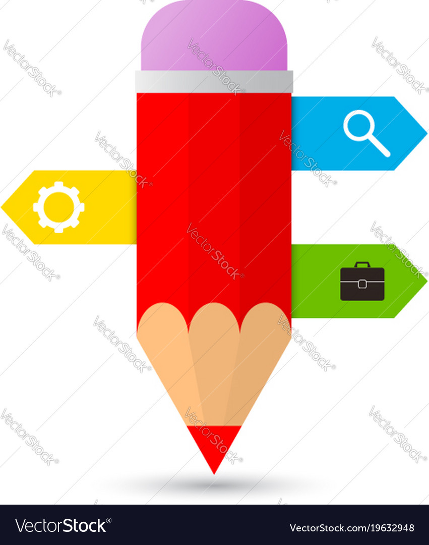 Pencil with templates for infographics on a white