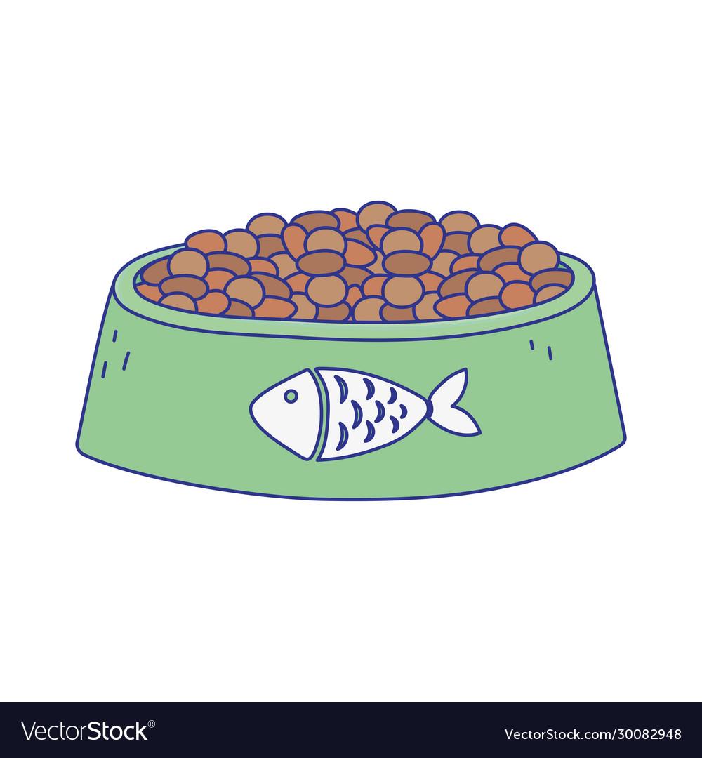 Pet cat food bowl with fish design icon