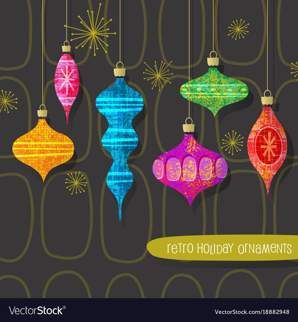 Retro Christmas Tree Ornaments Set Royalty Free Vector Image