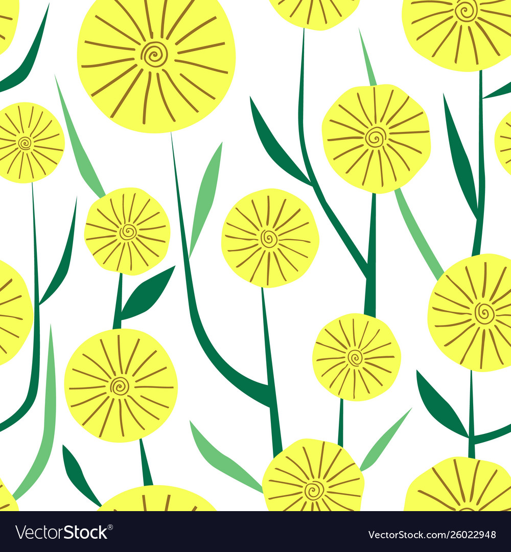 Simple seamless pattern yellow flowers