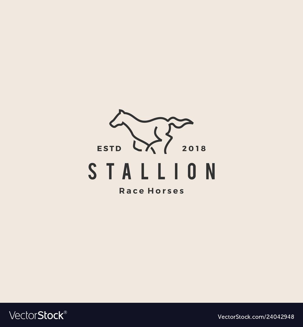 Stallion horse running race logo hipster vintage
