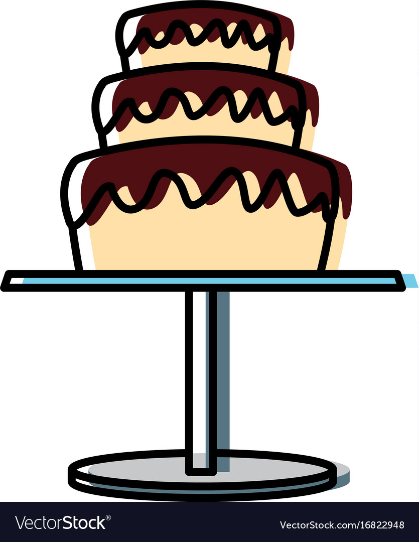 Wedding cake and pedestal sweet food Royalty Free Vector
