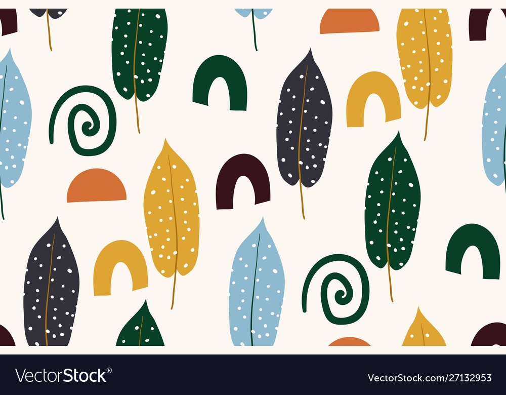 Abstract seamless pattern with autumn leaves hand