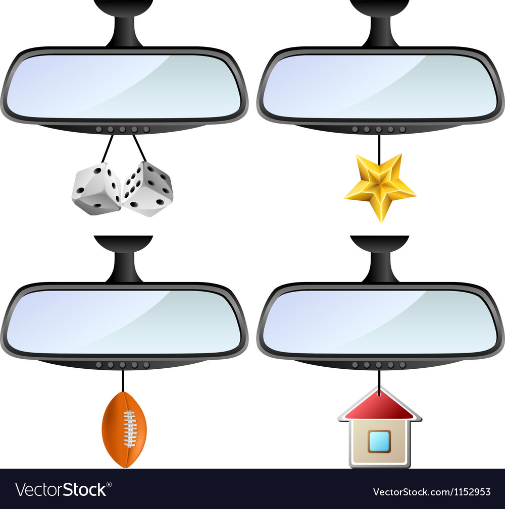 Car mirror set with different decorations vector image