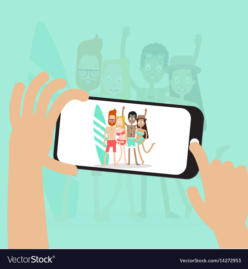 Character take a photo people on the beach vector image
