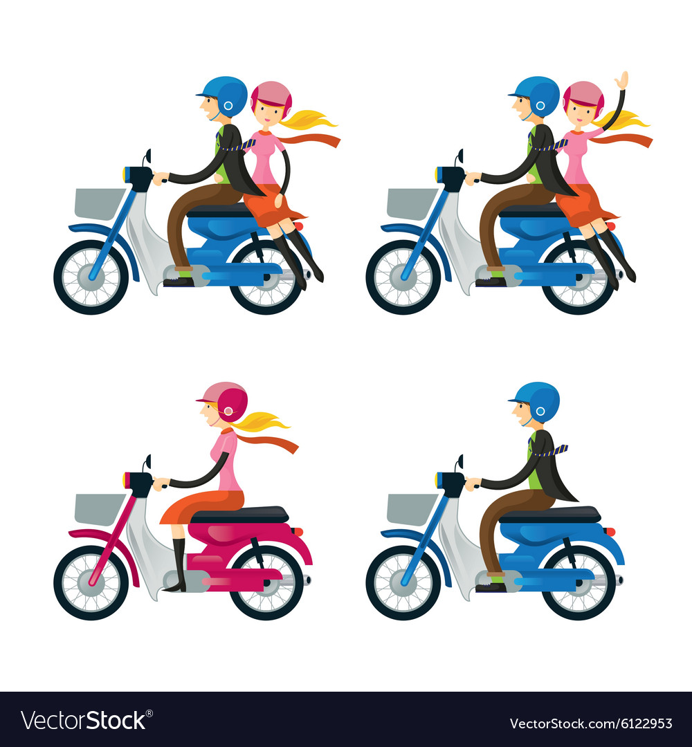 Couple Man Woman Riding Motorcycle