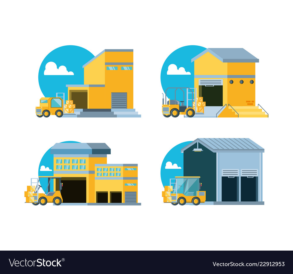 Delivery service with warehouse buildings