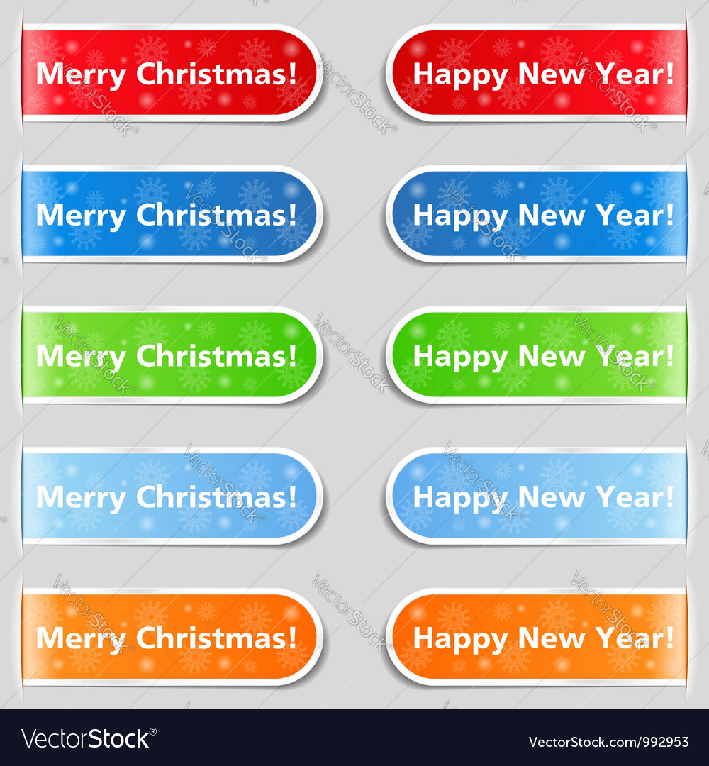 Happy new year and Christmas tabs vector image