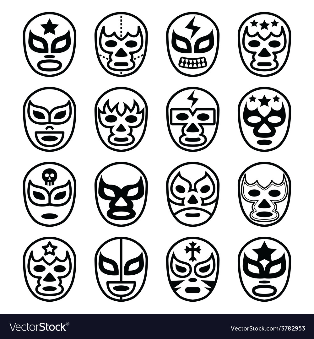 Lucha Libre Mexican Wrestling Masks Line Icons Vector Image Rh Vectorstock Com Cut Out Mask Template