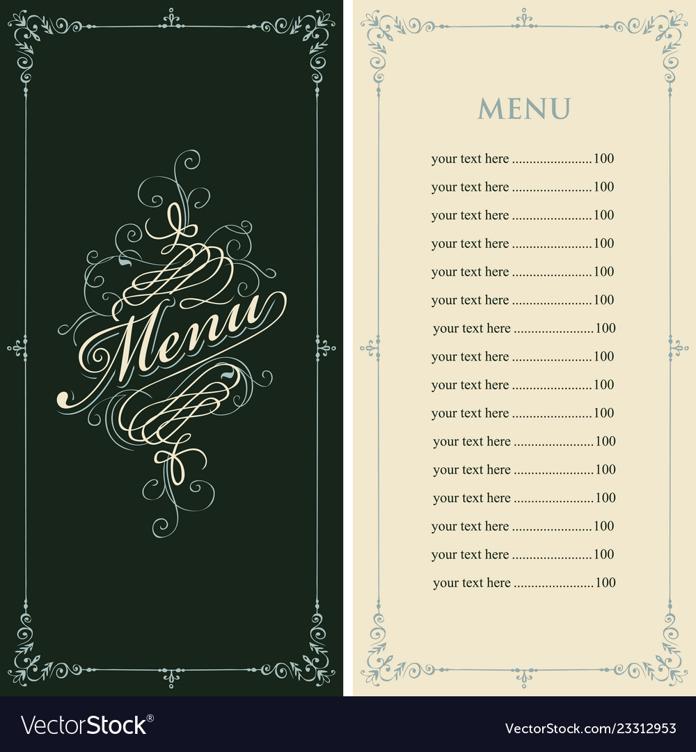 Menu for restaurant in retro baroque style
