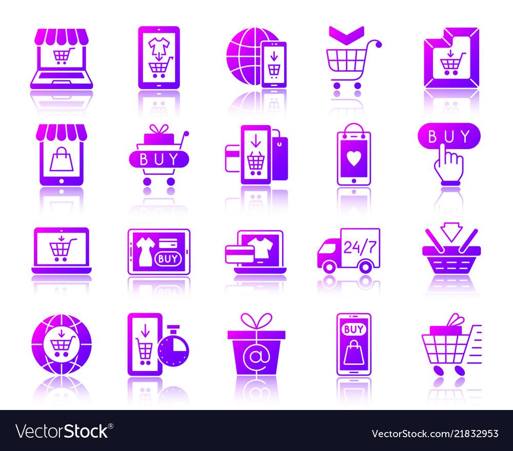 Online shop simple gradient icons set