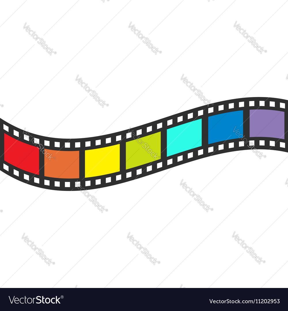 Rainbow flag Film strip frame Wave shape ribbon Vector Image