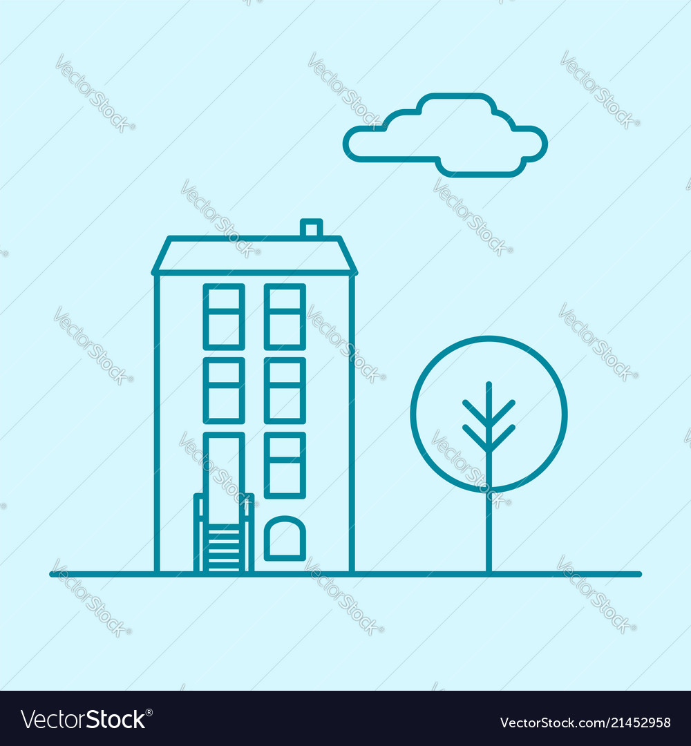 City thin line office building with tree and