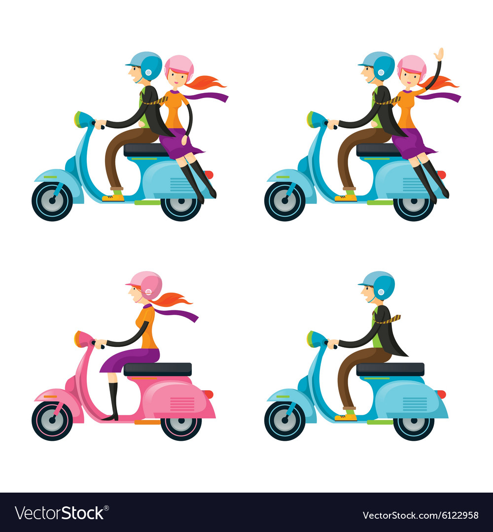 Couple Man Woman Riding Scooter