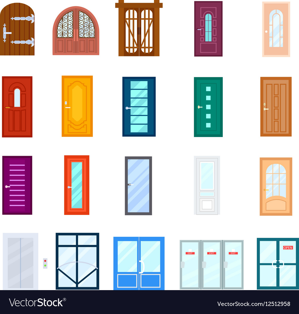 Entrance door isolated set in flat design