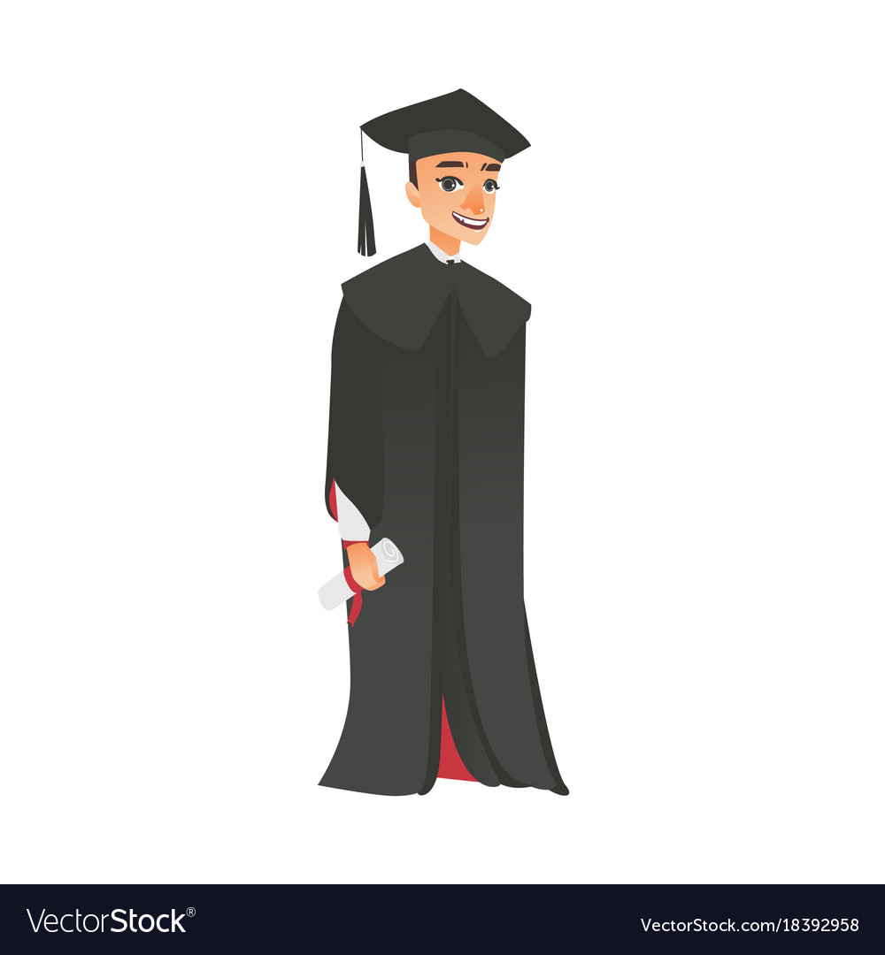 Flat boy graduate in gown cap Royalty Free Vector Image