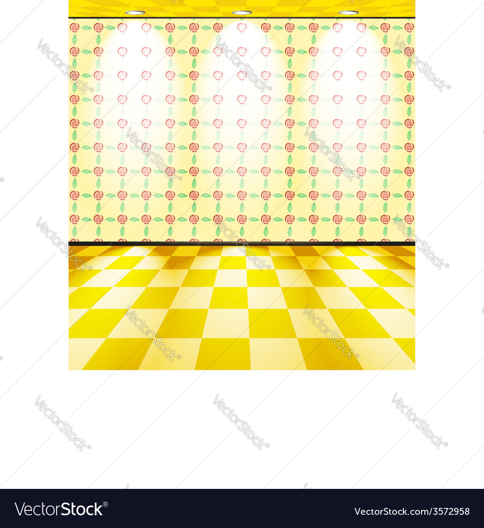 Room with roses on the wallpaper vector image