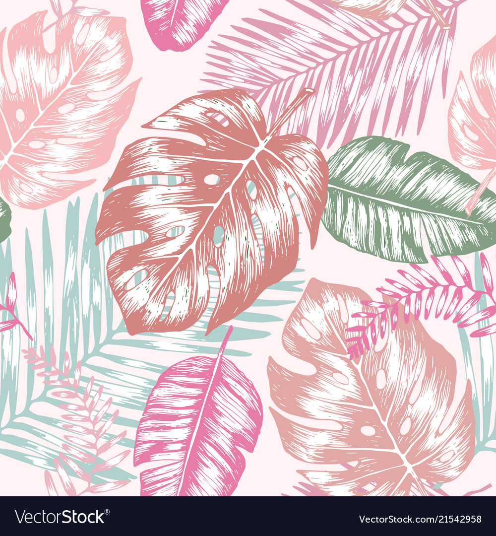 Seamless background with tropic leaves