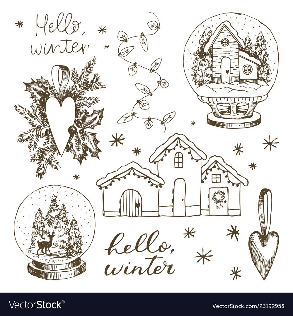 Set christmas winter elements hand drawn