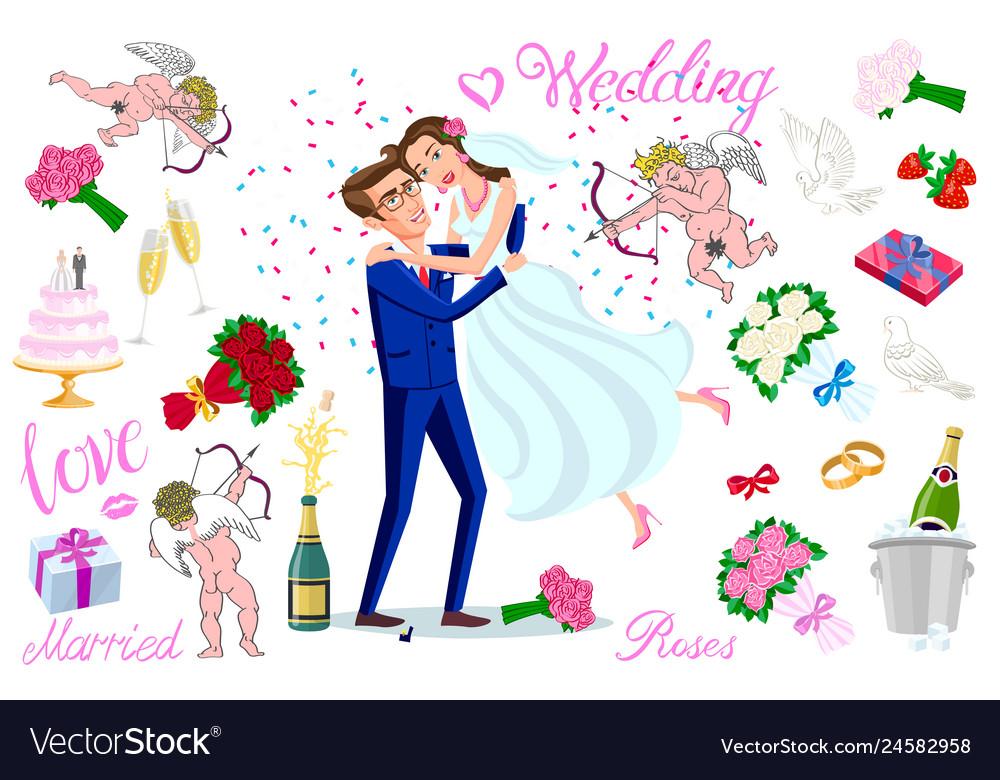 Set just married newlyweds bride and groom set