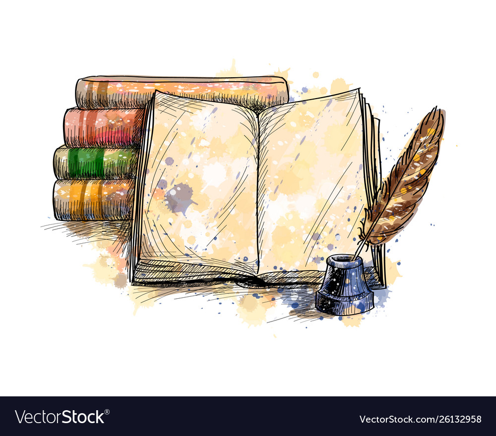 Stack books open book and quill pen