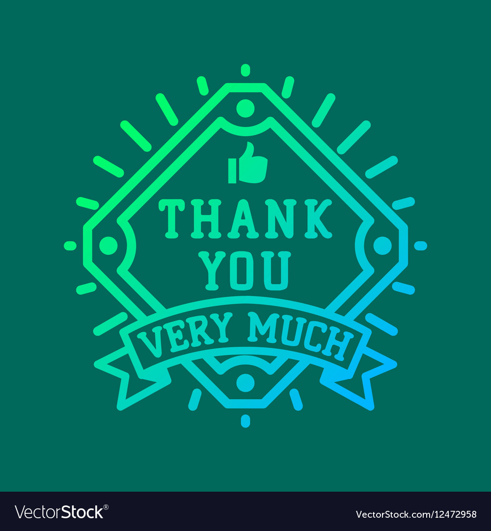 Thank you text lettering logo badge