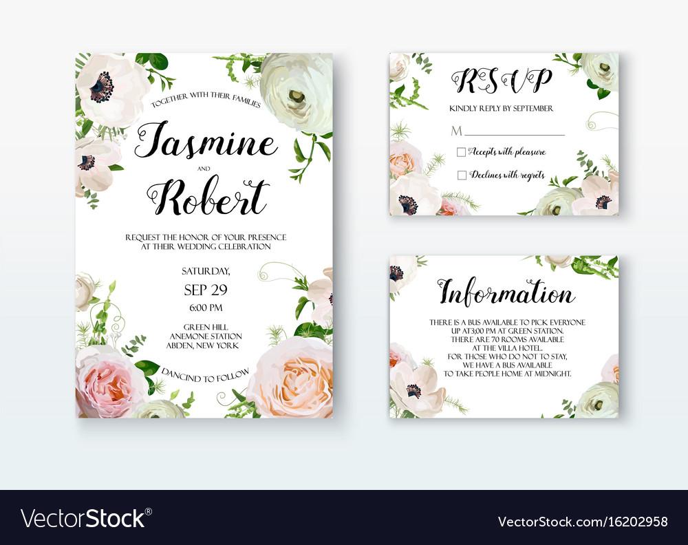 Wedding invitation invite card design with rose vector image stopboris Images