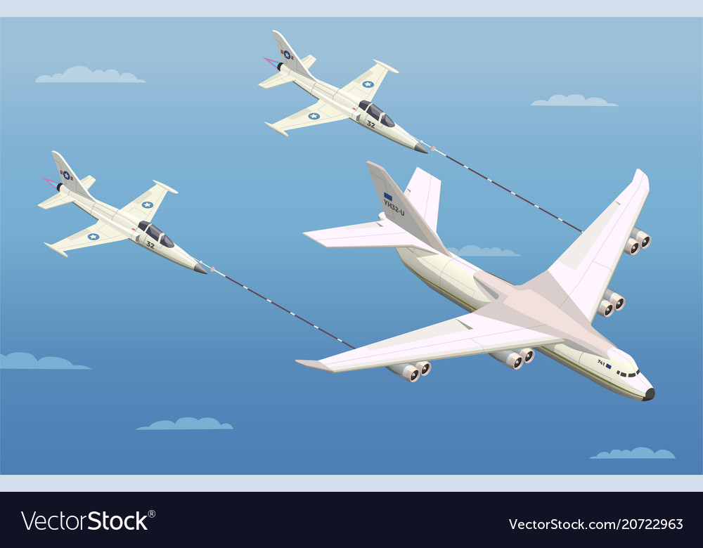 Aerial refuelling isometric composition