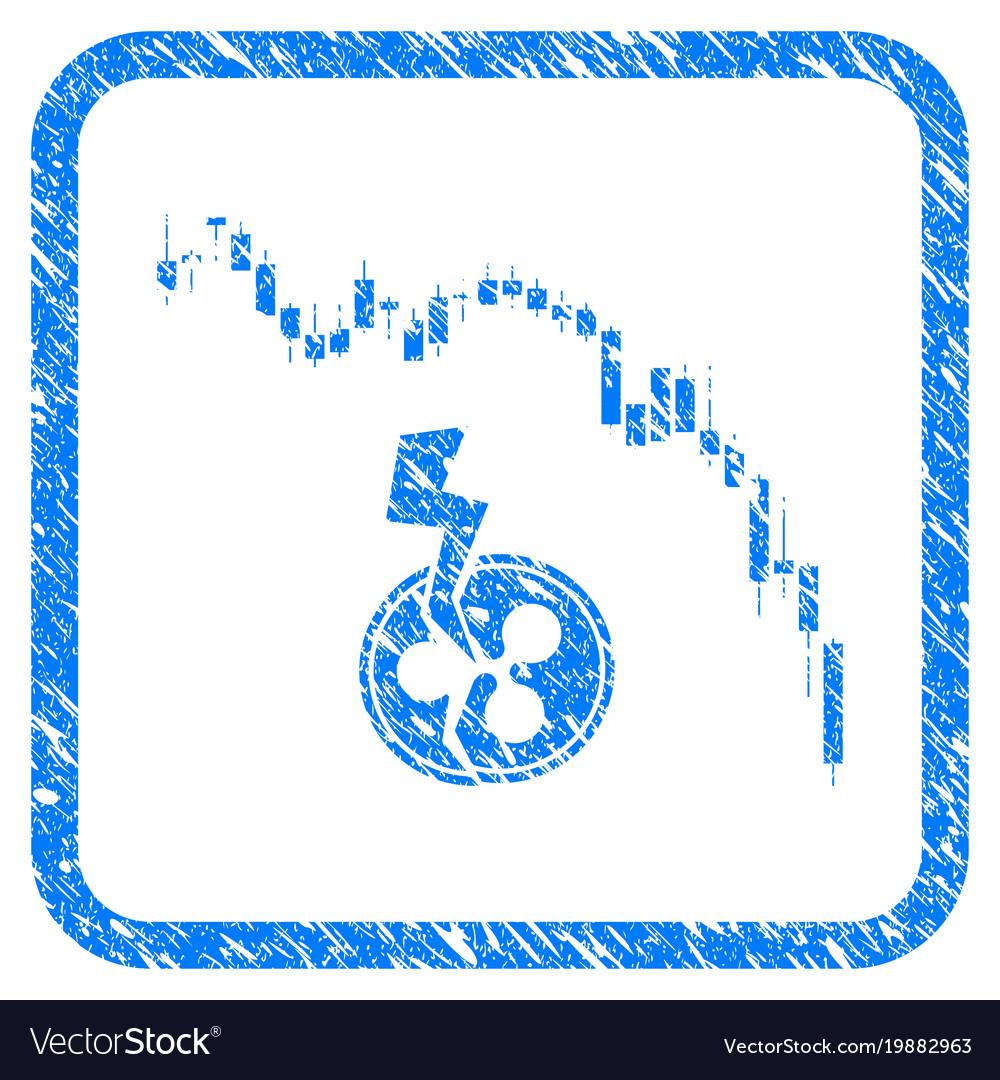 Candlestick chart ripple crash framed stamp