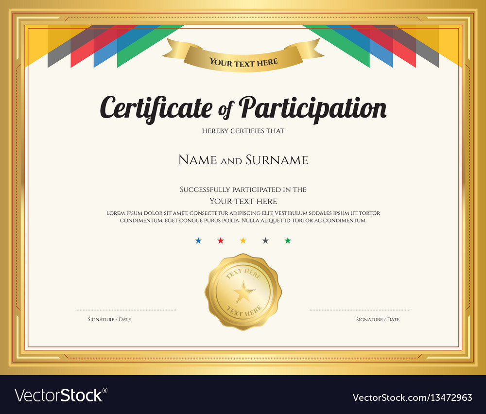 Certificate of participation template with gold vector image