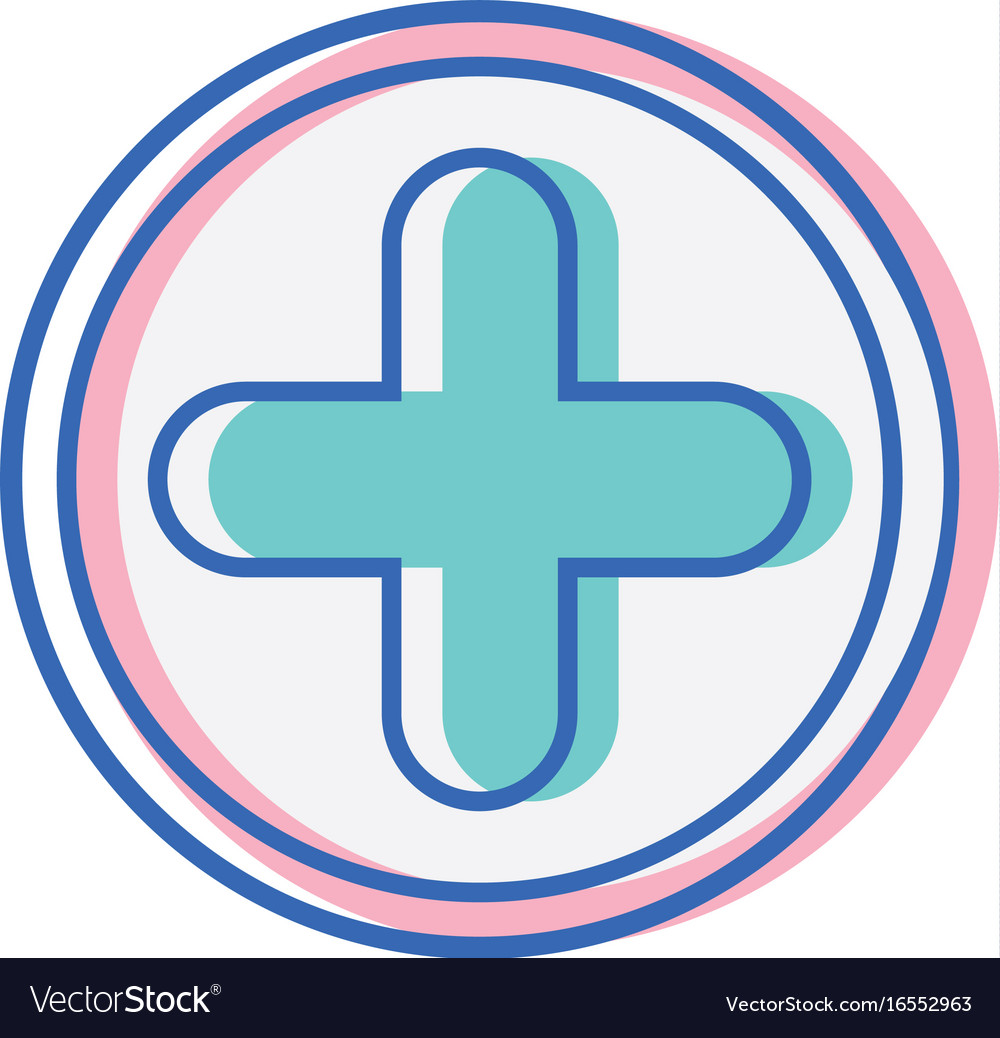 Cross medicine symbol to help the people vector image