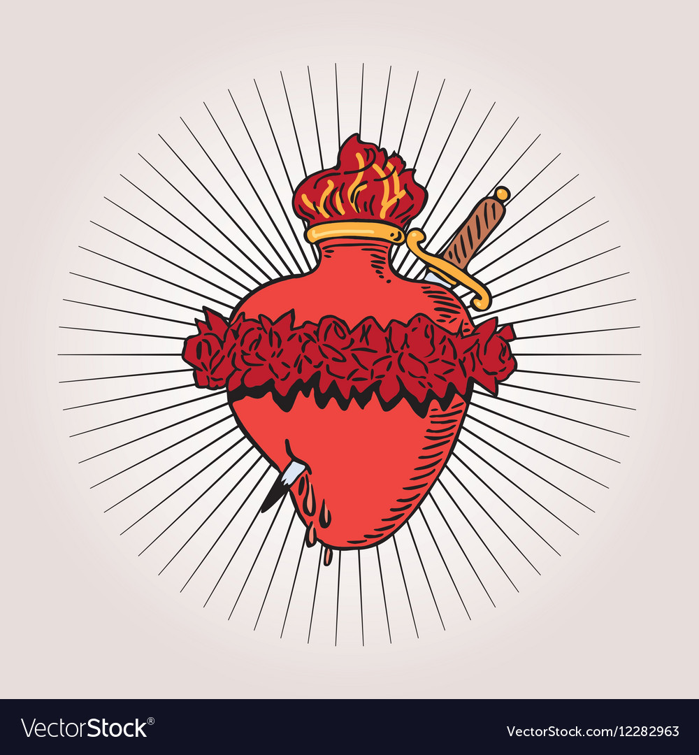 Immaculate Heart Of Blessed Virgin Mary Tattoo Vector Image