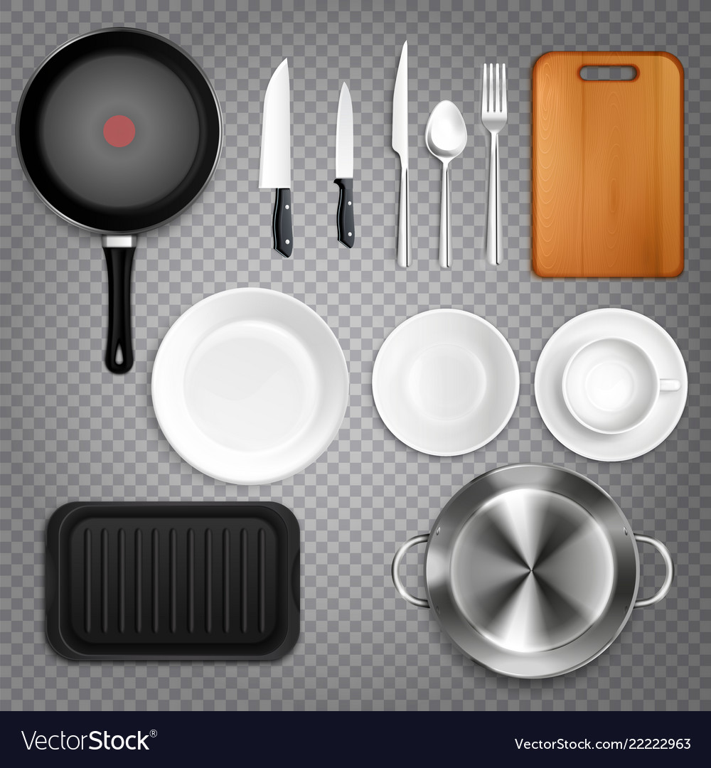 Kitchen utensils realistic transparent