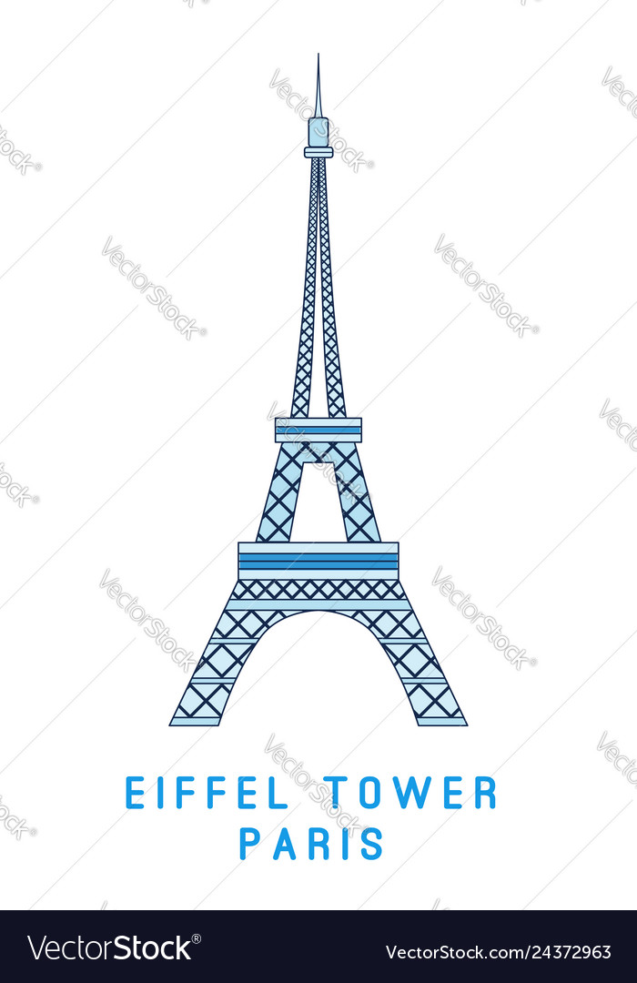 Line art eiffel tower paris symbol european